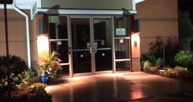 church entrance with cross